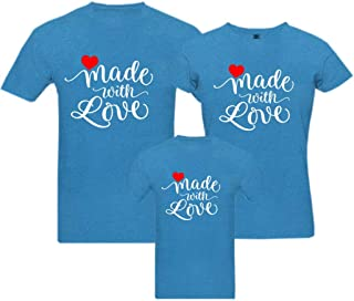 RAINBOWTEES Made with love-3Family t-Shirts Set of 3 for Father Mother and Kid