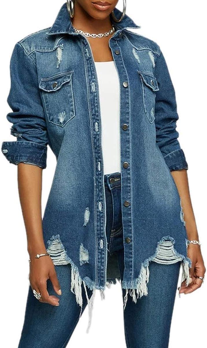 Denim Jacket for Women Winter Long Sleeve Classic Distressed Butterfly Jean Trucker Jackets