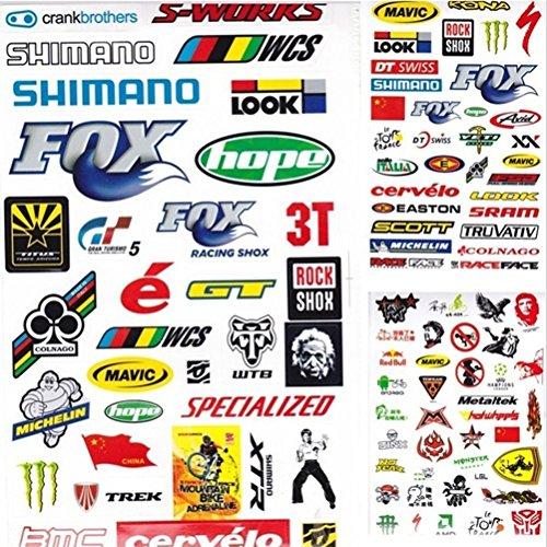 VVing Bike Bicycle Motorcycle PVC Waterproof Art Decals Pattern Random 3PCS