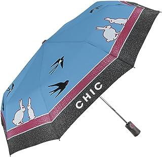 Blue Flame Skull Automatic Tri-Fold Umbrella Parasol Sun Umbrella Sunshade