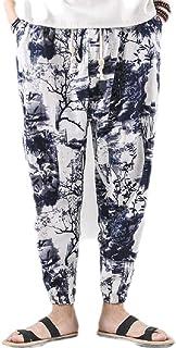 MU2M Men Retro Printed Cotton Linen Drawstring Loose Harem Jogger Pants