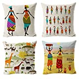 """All Smiles Africa Print Pillows Ethnic African Decor Throw Covers Cases Decorative Cushion Outdoor Home Bedding 18""""x18"""" Set of 4 for Sofa Couch Living Room Décorations"""