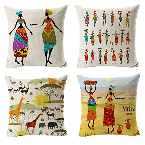 "All Smiles Ethnic African Decor Throw Pillow Covers Cases Decorative Africa Safari Print Outdoor Cushion Home Décorations 18"" x18"" Set of 4 for Sofa Couch Living Room"