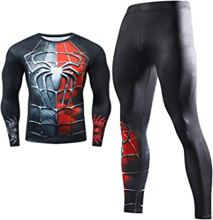 Compression Set Men Long Sleeve Compression Shirt and Pants Top Long Sleeve Sports Tight Base Layer Quick Dry Fitness Suit...