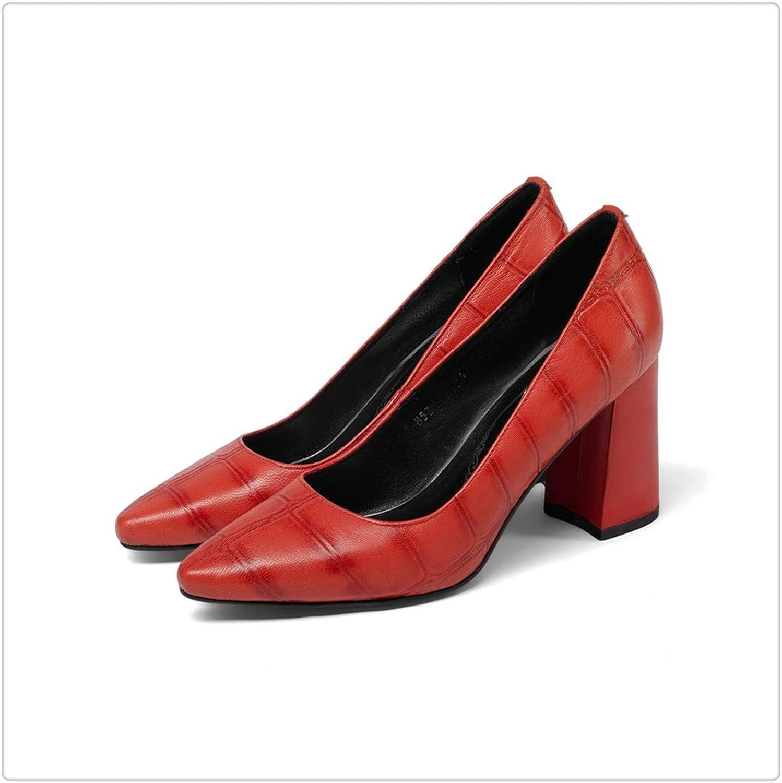 ZXCVB& Gingham Genuine Leather Super high hoof Heels Pointed Toe Slip-on Spring Outside