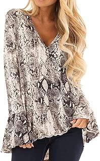 Women's Blouse Fashion Snake Skin Print Loose Long Sleeve V-Neck Shirt Tops