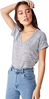 COTTON ON Women's Karly Short Sleeve V Neck Top