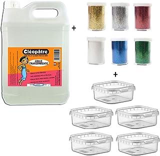 Cléopâtre - CT2L-PAILL2 - Lot 2 kg Colle Transparente + 6 Tubes Paillettes + boîtes rangements