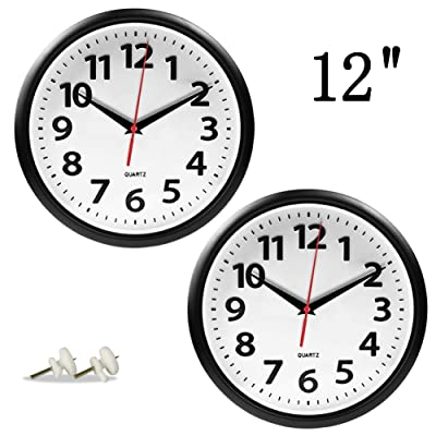 Giftgarden 2 Pack 12 inch Wall Clock Black Sile...