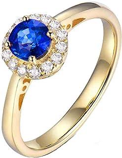 ButiRest - Anello in vero oro giallo 750 18 carati con 4 denti taglio rotondo 0,7 carati zaffiro blu VS e diamante 0,18 ca...