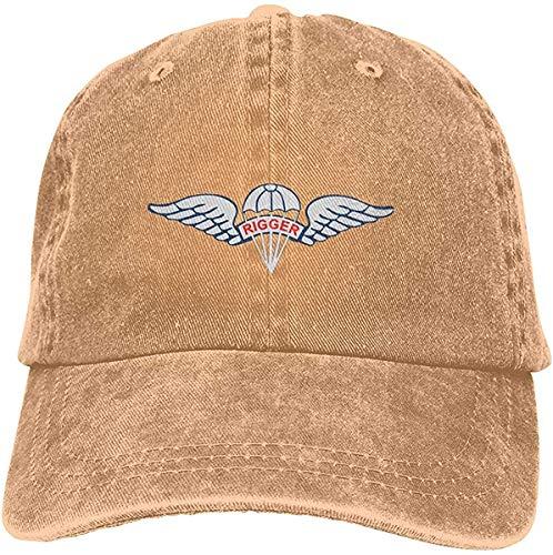 Us Army Fallschirm Rigger Flügel Abzeichen Verstellbar Vintage Washed Denim Baumwolle Dad Hat Baseball Caps Outdoor Sonnenhut - Natur