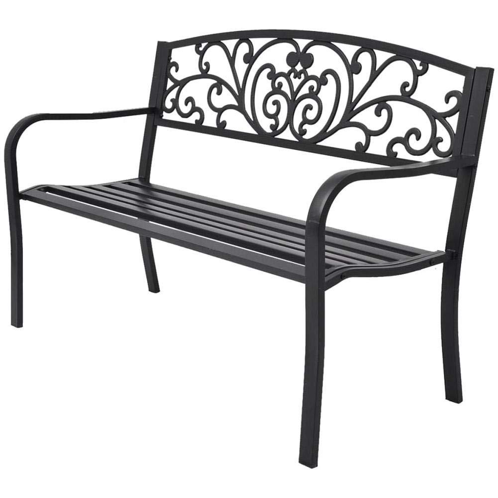 Banco de exterior, banco, banco de jardín exterior, banco de jardín de hierro fundido negro, banco de jardín, 127 x 60 x 85 cm: Amazon.es: Hogar