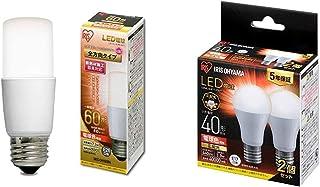 【セット買い】アイリスオーヤマ LED電球 口金直径26mm E26 T形 全方向タイプ 60W形相当 電球色 LDT7L-G/W-6V1 1)単品 & LED電球 口金直径17mm 広配光 40W形相当 電球色 2個パック 密閉器具対応 LD...