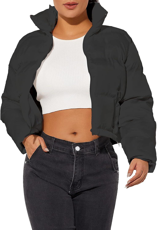 Women's Crop Short Black Jacket Cropped Puffer Fashion Jackets for Women Short Lightweight Coat