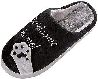Wadonerful Women Mens Winter Warm Home Slippers Cartoon Cat Non-Slip Indoors Bedroom Floor Shoes Couples Plush Slippers