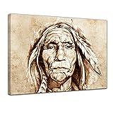 Keilrahmenbild Indianer, Tattoo Art - 120x90 cm quer Groß