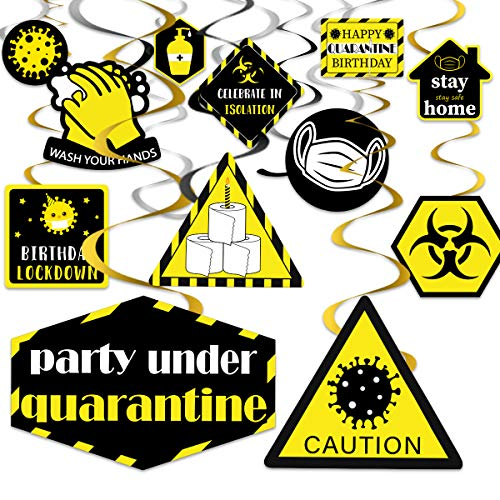 Quarantine Birthday Party Decorations Hanging Swirls Yellow for Lockdown Social Distancing Stay Home Party Supplies