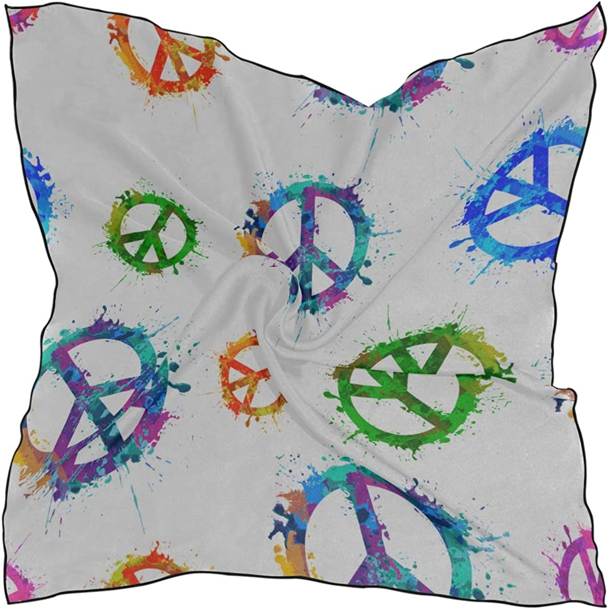 Soft Polyester Silk Head-scarf Fashion Print Colorful Peace Sign Happiness Scarf Scrunchie Scarves Neck Scarf For Women Multiple Ways Of Wearing Daily Decor