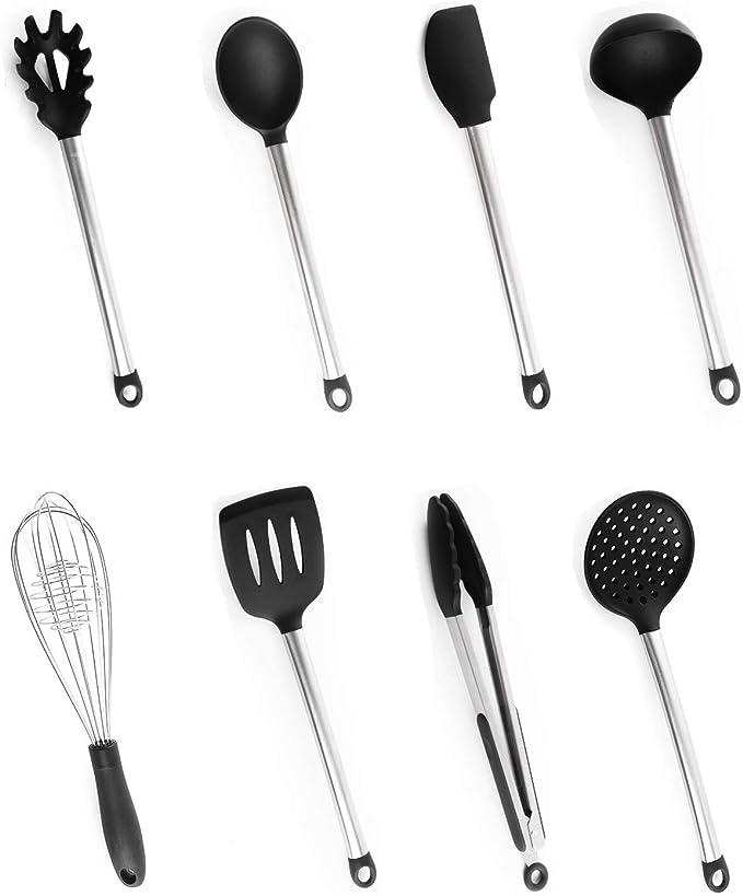 64 opinioni per Set di Utensili da Cucina, Bi-Komfort 8 Pezzi Cucina Utensili Set in Silicone,