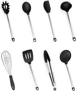 Utensilios Cocina Silicona, Bi-Komfort 8 Pcs Cocina Accesorios; Incluyen Pinzas Cocina, Tenedor Pasta, Batidor, Turner Ranurado, Cuchara para Servir, Cucharón Sopa, Colador y Espátula Flexible