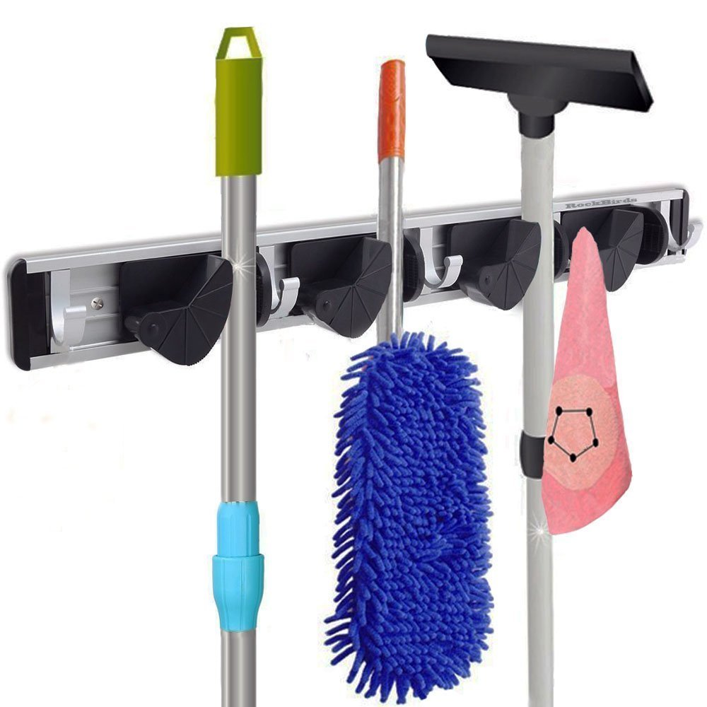 Healthy and Tasteless, Quality Life Wall Mounted with Slidable 2 Racks and 4 Hooks, No Punching Arrangement,Plastic Multifunctional Mop Rack Blue and yellow