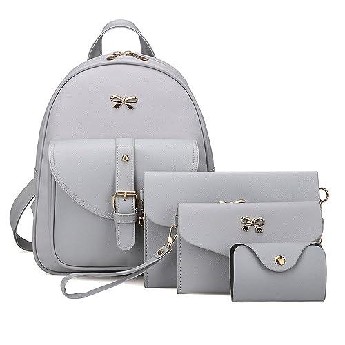 Womens Backpack Brezeh School Bag Shoulder Bag Handbag Travel Tote  Messenger Bag(4 Sets) 7516329e3b