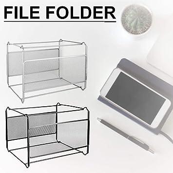 Formato A4 G-wukeer Scatola per cartelle sospese Scatola per Organizer per File in Metallo Mesh Scatola per archiviazione Pieghevole per cartelle sospese per Ufficio e casa