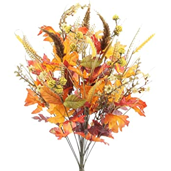 """Admired By Nature ABN3B003-GDOR-MIX- Artificial Autumn Flowers/Maple Leaves/Berries Fall Festive Harvest Display, 25"""", Gold/Orange Mix"""