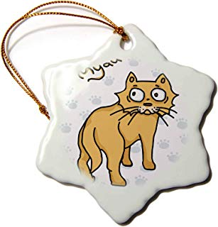 3dRose Warya - Animals. - Ginger Cat Say Meou - 3 inch Snowflake Porcelain Ornament (ORN_299938_1)
