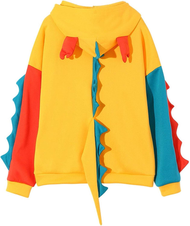 Nixiang Cute Dinosaur Print Hoodies for Women Long Sleeve Teen Girls Sweater Shirt Loose Personality Pullover Sweatshirt