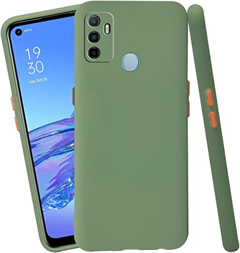 Jkobi Soft Silicon Camera Protection Back Cover Case For Oppo A53 With Color Highligted Smoke Buttons Green