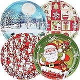 com-four 4x Weihnachtsteller aus Metall, Weihnachts- oder Nikolaus-Teller mit verschiedenen Motiven für Kekse, Stollen, Gebäck und Süßes, Ø 26 cm [Auswahl variiert] (04 Stück - Mix4)