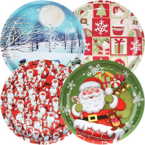 COM-FOUR® 4x metalen kerstbord, kerst- of kerstbord met verschillende motieven voor koekjes, stollen, gebak en snoep, Ø 26 cm [selectie varieert] (04 stuks - Mix 4)