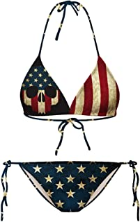 Growing Wild Sexy American Flag Bikini for Women Patriotic Swimsuits Skull Bathing Suit Sidetie