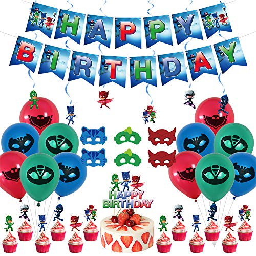 Masked Pajamas Theme Party Supplies 38pcs - Including Happy Birthday Banner, Masks Birthday Balloons and Cupcake Toppers Party Masked Pajamas Decorations Kit
