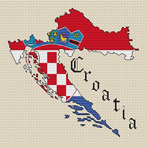 Kroatië Kaart & Vlag Cross Stitch Kit door Elite Designs