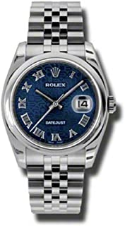 Rolex Oyster Perpetual Datejust 36mm Stainless Steel Case, Domed Bezel, Blue Jubilee Dial, Roman Numeral and Jubilee Bracelet.