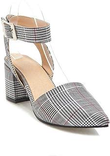 BalaMasa Womens ASL06084 Pu Block Heels