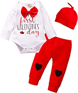 Kids Newborn Baby Boys Girls My First Valentine's Day Outfit Romper Bodysuit Jumpsuit+Stripe Pants Clothes Set