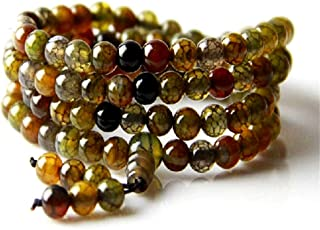 Natural 6mm Dragon Agate Bracelet 108 Buddhist Prayer Beads Tibetan Mala Necklace Quartz Crystal Wrap Bracelets
