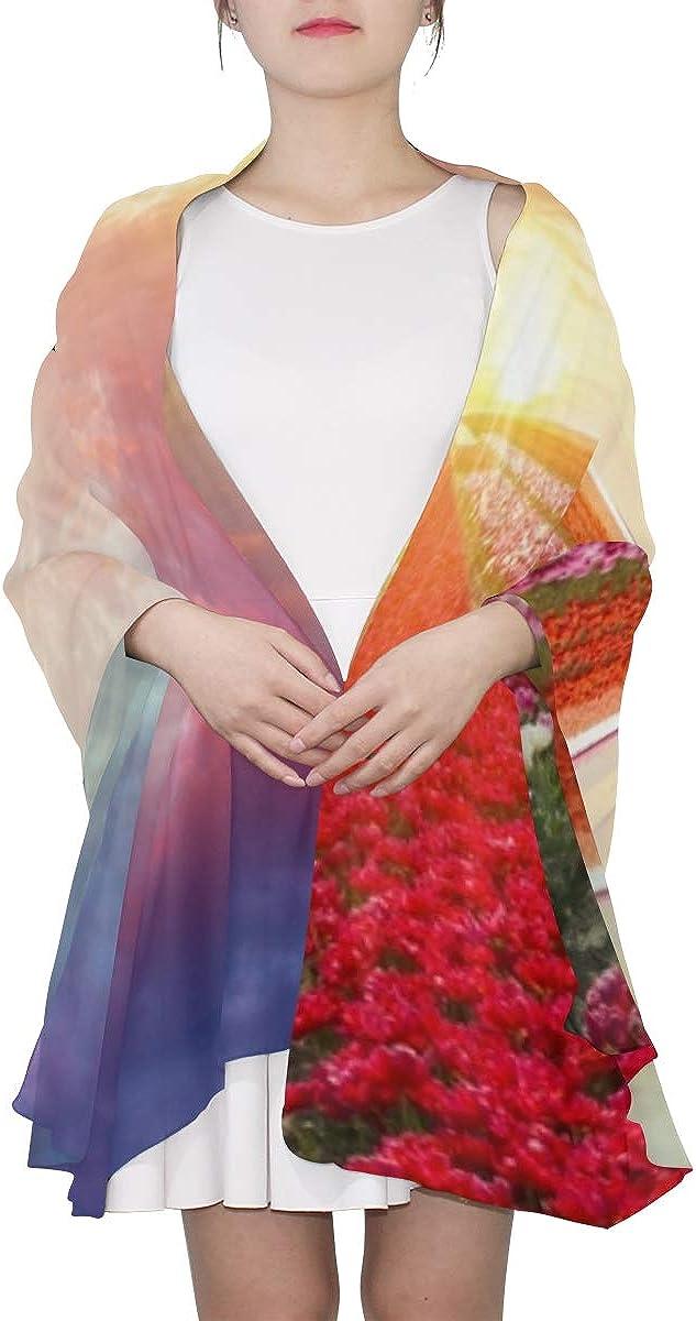 Womens Fashion Scarf Wooden Windmill Flower Road Colored Shawl Wrap Large Womens Scarf Lightweight Print Scarves Scarf Men Lightweight Lightweight Fashion Scarf