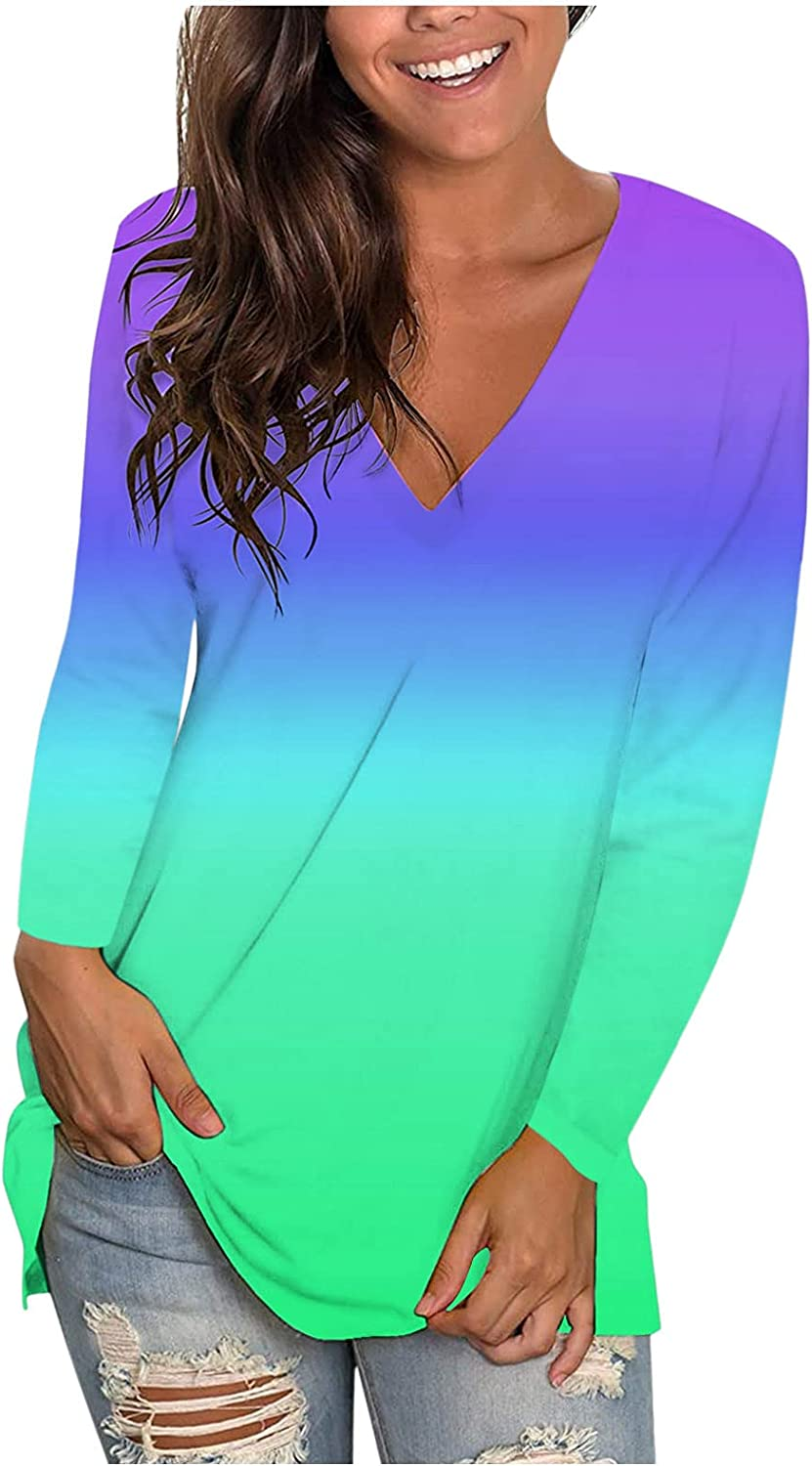 Tops for Women Long Sleeve, Women's V Neck Short Sleeve T Shirts with Pocket Drop Tail Hem Relaxed Fit Tees