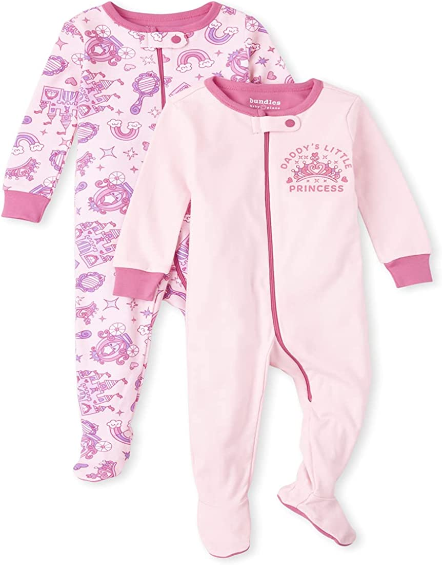 The Children's Place Baby Toddler Girl Princess Snug Fit Cotton One Piece Pajamas 2-Pack