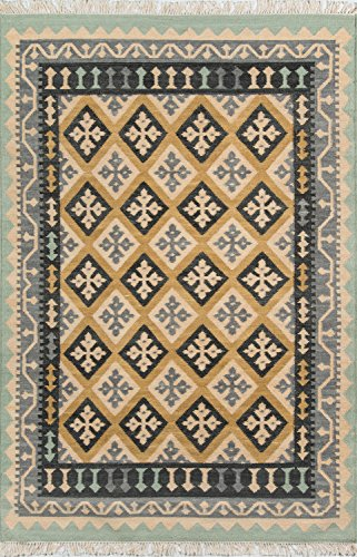 Nolita Rugs Kensington Hand Woven Wool Gold Area Rug 3'9