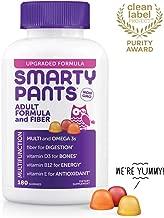 Daily Gummy Multivitamin Adult w/ Fiber: Biotin, Vitamin D, C, D3, E, B12, A, Omega 3 Fish Oil DHA/EPA, Zinc, Iodine, Choline, Methylfolate by Smartypants (180 count, 30 Day Supply)