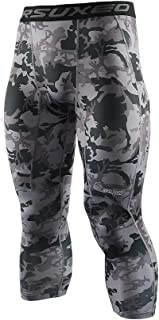 ARSUXEO Men's 3/4 Running Compression Tights Capri Pants K75