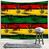 JAWO Marijuana Leaf Weed Tapestry Wall Hanging, Reggae Rasta Tie Dye Jamaica Premium Tapestries for Dorm Living Room Bedroom, Wall Blanket Beach Towels Home Decor 60X40 Inches