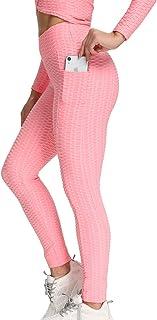 Mallas Push up Mujer Leggings Deportivos Pantalones Anticeluliticos Yoga Leggins de Cintura Alta Bolsillos Pantalón Deporte Verano Elásticos Pantalón para Fitness Correr Entrenamiento