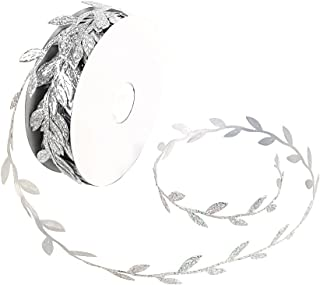 Olive Leaves Leaf Mirror Leather Silver Sequins - 20 Yards - Trim Ribbon for DIY Craft Party Wedding Home Decoration (Sequins Silver)