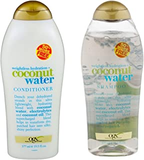 (OGX) Organix weightless hydration COCONUT WATER SHAMPOO & CONDITIONER Set, 19.5 Oz ea.